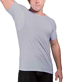 Ejis Men's Sweat Proof Undershirt, Crew Neck, Anti-Odor Silver, Cotton, Sweat Pads