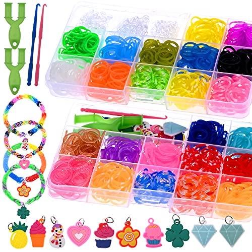GOLDGE 24 Colores DIY Pulseras Gomas, Caja Pulseras Gomas Elasticas, Gomas para Hacer Pulseras, Loom Bands Set para Pulseras