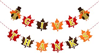 Rainlemon Felt Give Thanks Banner with Turkey and Maple Leaf Happy Thanksgiving Day Mantel Fireplace Garland Decoration