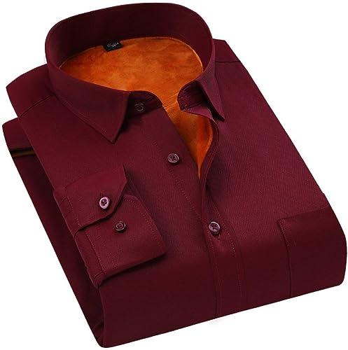 Fuxitoggo Chemises pour Hommes - Chemise épaisse et Chaude pour l'hiver (Couleuré   7, Taille   petit)