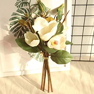 Gotian Artificial Fake Flowers Leaf Magnolia Floral Wedding Bouquet Party Home Decor ~ Perfect for Decorating Wedding Party, Your Home and Garden, Office, Coffee House (B)