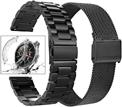 Minfex Compatible with Samsung Galaxy 42mm/Gear S2 Classic Watch Bands, 2-Pack 20mm Stainless Steel Replacement Metal Band Strap Bracelet for Samsung Galaxy 42mm Smartwatch, Black