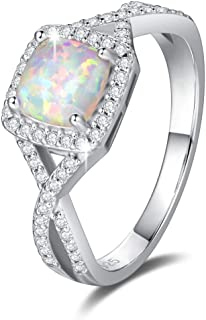 FANCIME Created Opal Rings Sterling Silver 4-Prong Halo White Fire Opal Cubic Zirconia Infinity Engagement Wedding Ring Fi...