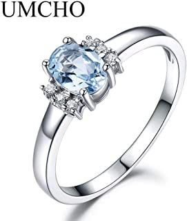 925 Sterling Silver Ring,Oval Created Nano Sky Blue Topaz Birthstone Rings Jewelry Gemstone Rings For Women Gifts Fine Jew...