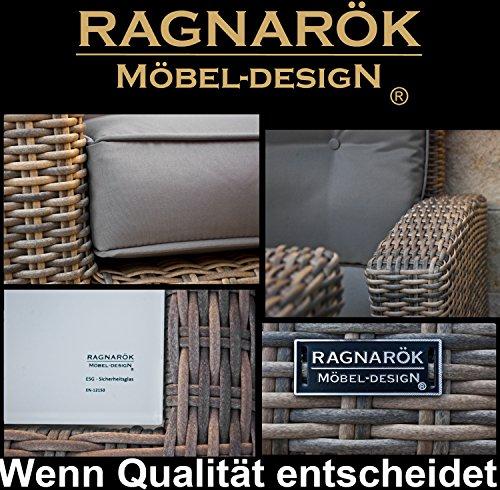 Ragnarök-Möbeldesign DEUTSCHE Marke - EIGNENE Produktion 8 Jahre GARANTIE auf UV-Beständigkeit PolyRattan Gartenmöbel Tisch + Dinning Lounge - 5