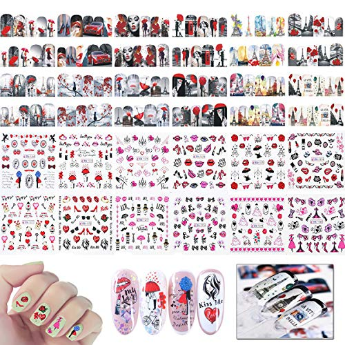 24 Sheets Valentine Nail Art Stickers, MWOOT Nail Art Water Transfer Sticker Full Nail Wraps Manicure Decals with Sexy Hearts Love Kiss Dollar Lips Smoke Pattern