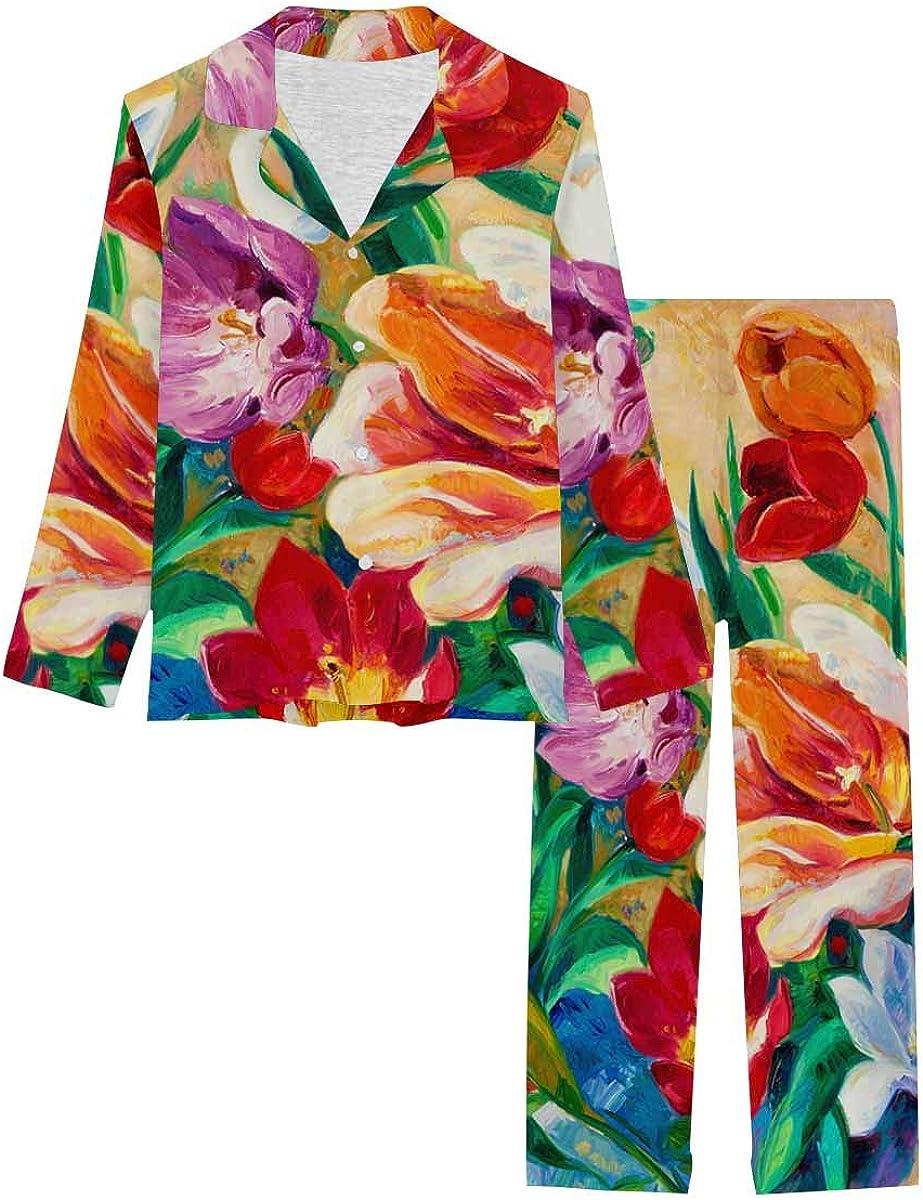 InterestPrint Sleepwear Button Down Loungewear with Long Pants Original Oil Painting of Beautiful Vase or Bowl of Fresh Flowers