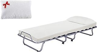 Luxory Farmarelax Grand lit pliant 80 x 190 cm, 13 lattes en bois avec matelas H7 + oreiller à mémoire de forme, orthopédi...