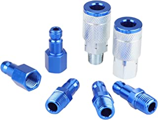 WYNNsky Color Air Fittings, 2 Pieces Air Coupler with 5 Pieces Air Plugs, T Style-Blue, 7 Pieces Air Compressor Accessories Fittings Kit