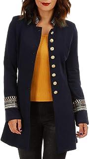 89b80f9469 La Modeuse - Veste Officier à col Mao et Manches Longues et épaulettes