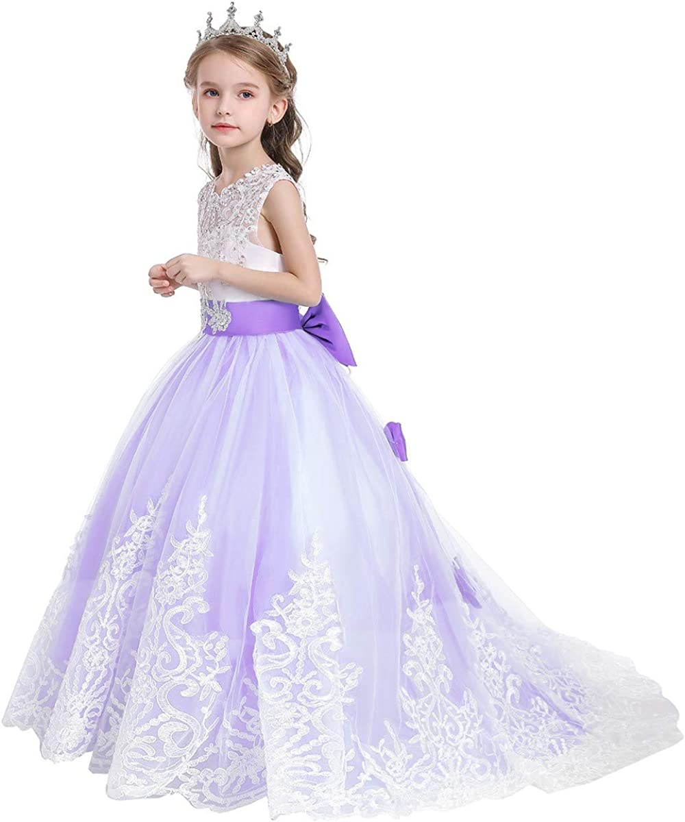 MYRISAM Flowers Girls Applique Tulle Lace Bridesmaid Wedding Dress Birthday Baptism Party Christmas Prom Evening Ball Gown