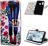 Huawei P30 Lite H�lle Leder Tasche PU Leder H�lle Gemalt Muster Flip Brieftasche Kartenhalter Magnetschnalle St�nder Sto�fest Kratzfest Sto�stange Handyh�lle Lange Beine Blumen