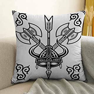 Viking Bedding Soft Pillowcase Helmet with Horn Arrow Axe Antique War Celtic Style Medieval Battle Art Prints Hypoallergenic Pillowcase W20 x L20 Inch Black White