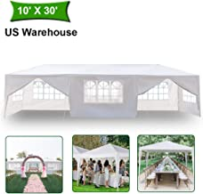MTFY Outdoor Canopy Tent, Portable Gazebo Canopy Tent for Party Wedding Commercial Waterproof, UV Protection Shelter, Removable Sidewalls, Upgraded Spiral Tube (10x30ft 8 Sidewalls)