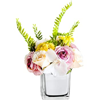 Amazon Com Billibobbi Artificial Flowers With Vase Fake Babysbreath Rose With Silver Vase Faux Flower Arrangements For Home Decor Silver Small Kitchen Dining