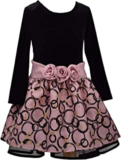 Bonnie Jean Pink and Black Drop Waist Dress for Little and Big Girls