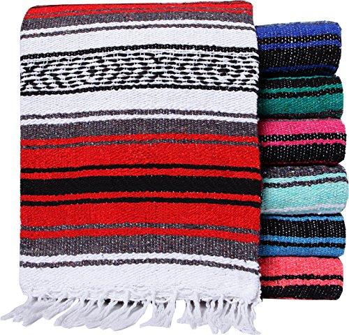 El Paso Designs Mexican Yoga Blanket | Colorful Falsa Serape | Park Blanket, Yoga Towel, Picnic, Beach Blanket, Patio Blanket, Soft Woven Saddle Blanket, Boho Home Décor (Random Color)