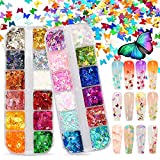 Warmfits 3D Holographic Butterfly Nail Glitter 24 Colors/set Splarkly Nail Sequins Flake Acrylic Manicure Paillettes Ultrathin Face Body Glitters for Nail Art Decoration & DIY Crafting (Pattern A)