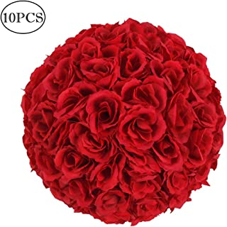 Amailtom 10 Inch Artificial Satin Flower Ball Romatic Wedding Flower Balls Kissing Balls Bouquet for Bridal Wedding Party Ceremony Centerpieces Decoration(10 Pack,Wine Red)