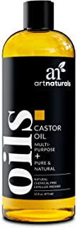 ArtNaturals Pure Organic Castor Oil - (16 Fl Oz / 473ml) - Massage Oil & Moisturizer – 100% Cold Pressed from Jamaica - for Hair, Skin, Eyelashes – Treatment for Dry and Cracked Skin