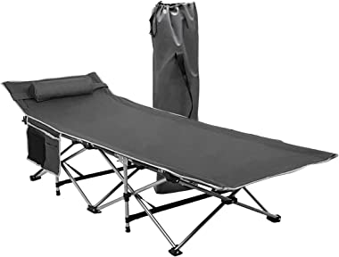Zone Tech Folding Outdoor Travel Cot - Classic Grey Premium Quality Lightweight Portable Heavy Duty Adult and Kids Travel Cot