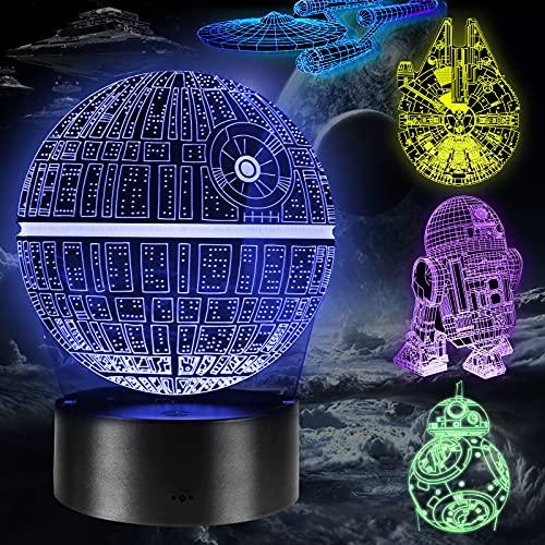 Lampada 3D Star Wars Regalo Perfetto, 16 Colori Dimmerabile 3D Lamp Illusion con 5 Modelli Telecomando, Luce Notturna 3D per Bambini e Fan di Star Wars (5 Pacchi)