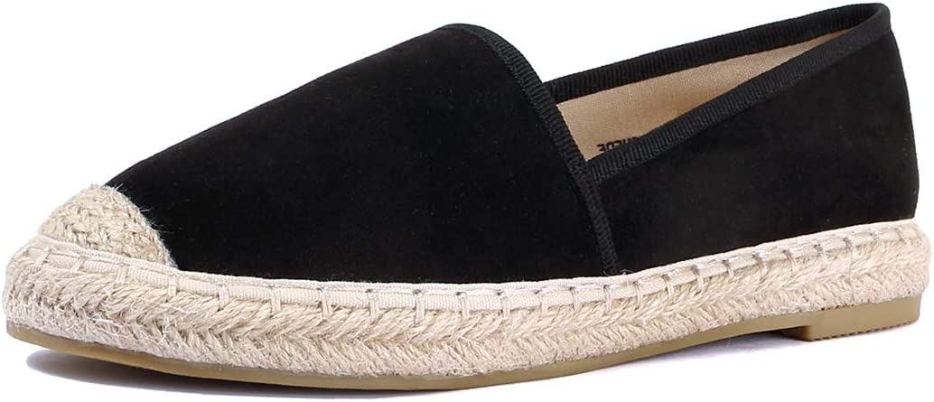 Women's Comfortable Slip On Loafers Braided Bottom Suede Shoes Espadrilles Casual Glitter Flats
