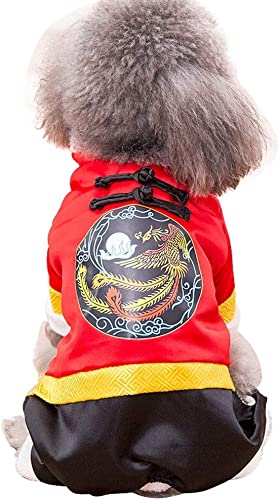 Pet Clothes, Dog Cat Clothing Winter Cotton Coat Tang Suit Small Medium Dog New Year Clothing, rot (Farbe   Phoenix, Größe   L)