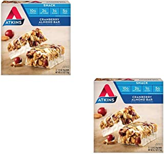 Atkins Snack Bar, Cranberry Almond, Keto Friendly, 5 Count - Pack of 2