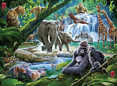 Ravensburger 12970 Dschungelfamilien 100-teiliges Puzzle mit extra großen Teilen für Kinder ab 6 Jahren