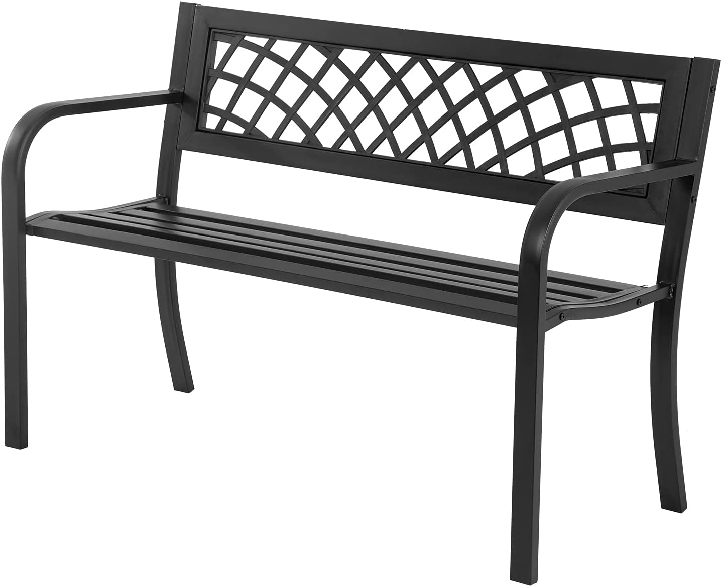 Garden Bench,Outdoor Benches,Iron Steel Frame Patio Bench with Mesh Pattern and Plastic Backrest Armrests for Lawn Yard Porch Work Entryway,Black