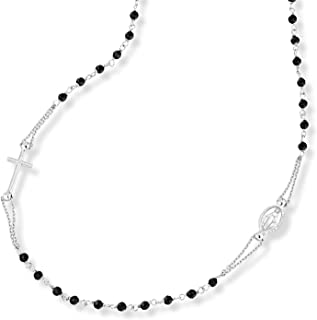 MiaBella 925 Sterling Silver Italian Handmade Natural Black Spinel Rosary Beaded Sideways Cross Necklace for Women Teen Girls 18, 20 Inch Chain Made in Italy