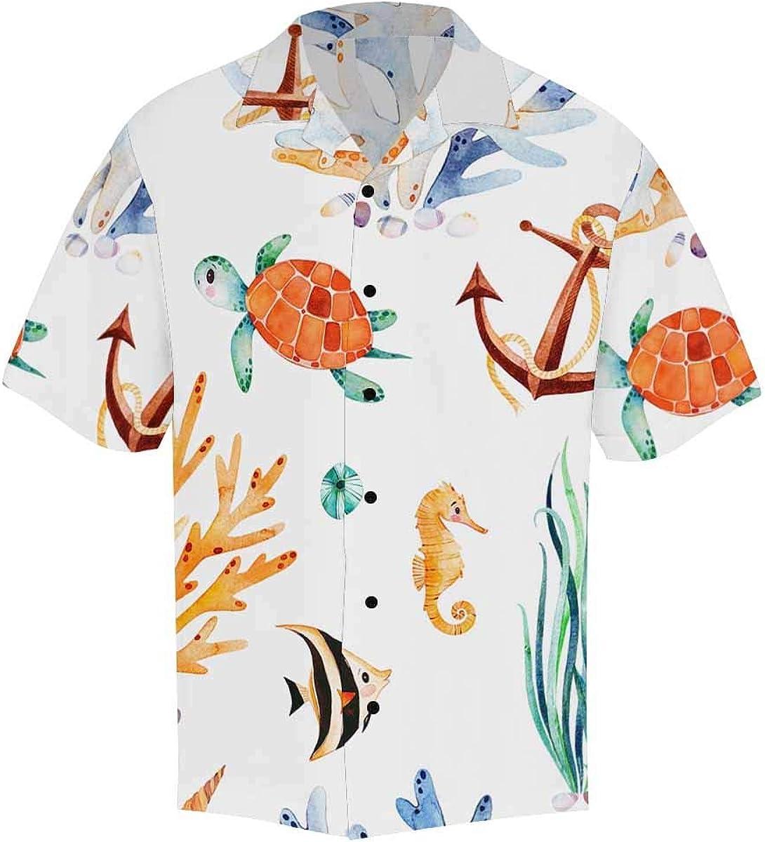 InterestPrint Men's Casual Button Down Short Sleeve Nautical Anchor Ship Hawaiian Shirt (S-5XL)