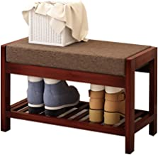 ZAQ Upholstered Shoe Bench Lightweight and Compact, for Entryway Closet, Bamboo Shoe Rack Ottoman with Padded Seat, 60cm Width (Color : B)