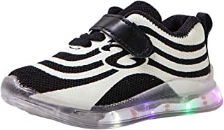 Boys Girls Sneakers,Londony🌞 Kids Breathable LED Light Up Flashing Sneakers for Children Shoes(Toddler/Little Kid/Kids) Black