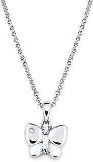 Little Diva Diamonds 925 Sterling Silver Diamond Accent Butterfly Pendant Necklace, 16