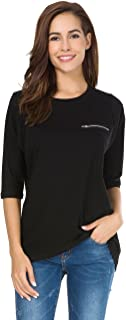 Womens Cotton T-Shirt Half Sleeves Basic Loose Fit Crew Neck Tops