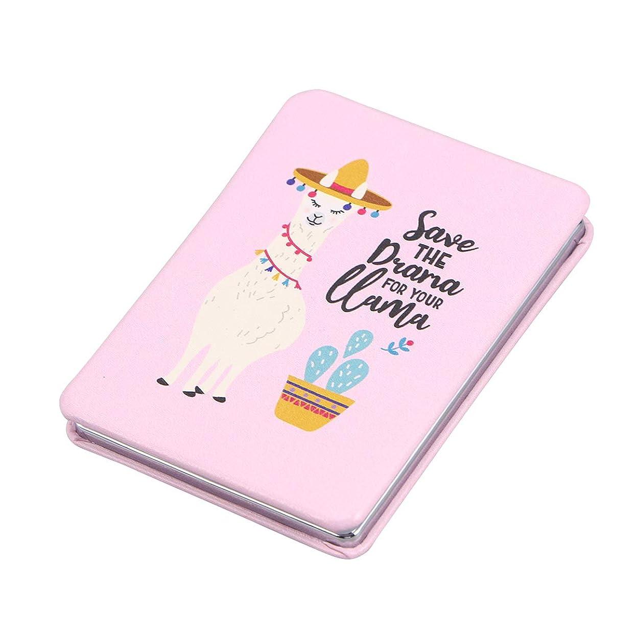 入射事肥沃なFrcolor 化粧鏡 携帯ミラー 両面 ポケットミラー 折りたたみ 長方形 化粧ミラー コンパクトミラー 持ち運びに便利 おしゃれ(ピンク)ミラー女性のための女性(アルパカパターン3)