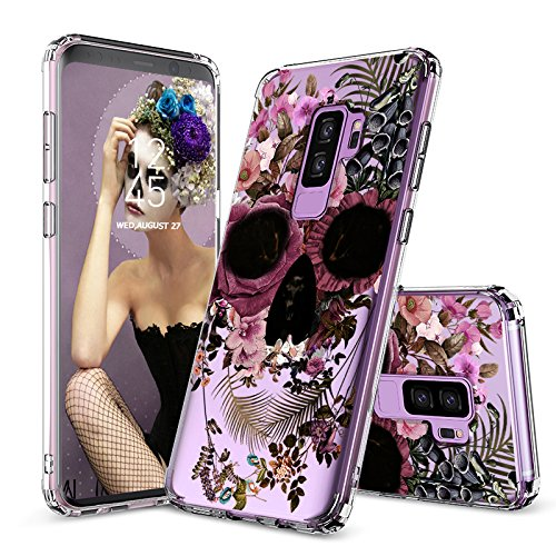 Galaxy S9 Plus Case, Galaxy S9 Plus Clear Case, MOSNOVO Floral Skull Flower Pattern Clear Design Plastic Case with TPU Bumper Protective Case Cover for Samsung Galaxy S9 Plus