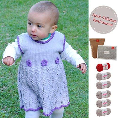 MyOma Baby Häkelset/Strickset -Baby DIY Set Kleidchen Zuckermaus- Baby Kleid Stricken – Baby DIY mit 6 Knäuel Baumwolle (beige/rot), Anleitung INKL. NADELN – DIY-Set