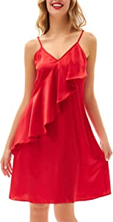 GRACE KARIN Women Sexy Satin Spaghetti Strap Dress V Neck Ruffle Dress Backless Loose Sundress