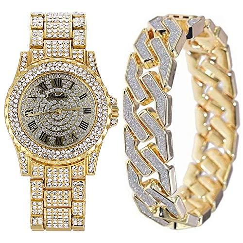 Top WHY Herren Bling-ed Out Gold Runde Uhr Hip Hop Herrenuhr & Armband, Crystal Diamond Armbanduhren Passend Armband Set
