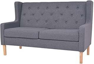 vidaXL 2-Seater Sofa Fabric Grey Couch Lounge Seat Home Living Room Furniture