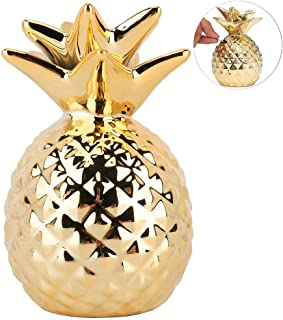 iefoah Pineapple Girls Piggy Bank Ceramic Pineapples Shape Cans Decorative Kids Adults Piggy Bank for Home Bedroom Party Decorations Valentine's Day Kid's Birthday Gifts (Gold)