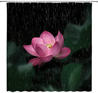AMNYSF Lotus Flower Decor Shower Curtain Floral Leaves Fantasy Garden Raining Night Scenery Pink Black Green Fabric Bathroom Curtains,70x70 Inch Polyester with Hooks