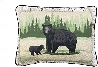 Donna Sharp Pillow Sham - Birch Bear Lodge Decorative Pillow Cover with Bear and Forest Pattern - Standard Size