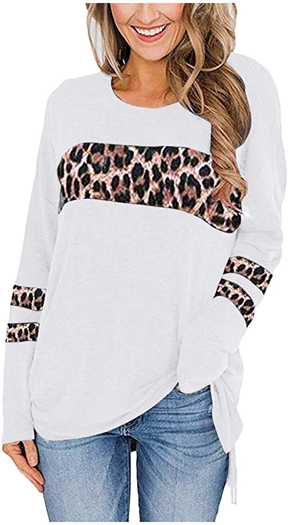 POTO Tops for Womens Leopard Print Pullover Sweatshirt Patchwork T-Shirts Long Sleeve Shirts Tops Casual Blouse