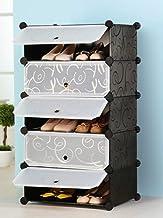 Zemic Multi Use DIY Plastic 5 Cube Shoe Rack Organizer, Shoes Cabinet Black with White Door - Large Size