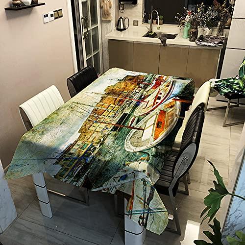 Moderna Serie De Paisajes Minimalistas Impresos Mantel Impermeable Rectangular Tapete De Mesa para El Hogar Adecuado para Manteles De Varias Mesas