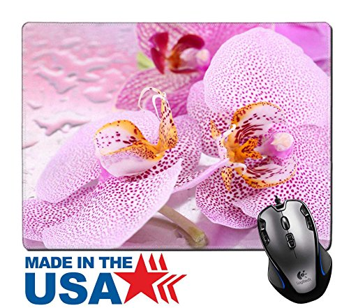 MSD 35139983 - Alfombrilla de ratón (goma, bordes cosidos, 24,8 x 20 cm), diseño de orquídeas tropicales